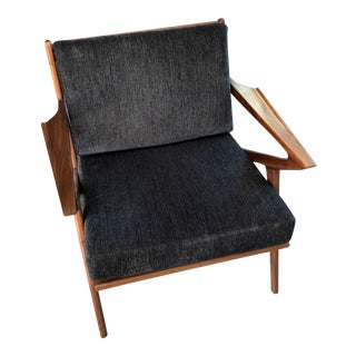 Mid Century Retro Charcoal and Walnut Lounge Arm Chair For Sale