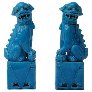 1920s Chinese, Glazed Peking Blue Foo Dogs - a Pair For Sale