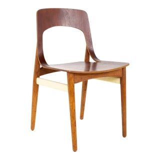 Mid Century Danish Teak Roped Bentwood Dining Side Chair For Sale