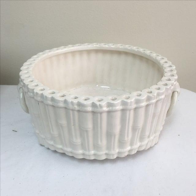 Italian Ceramic Faux Bamboo Planter - Image 2 of 7