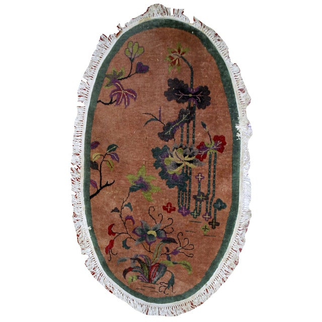 1920s Handmade Antique Oval Art Deco Chinese Rug - 3' X 4.10' - Image 1 of 7