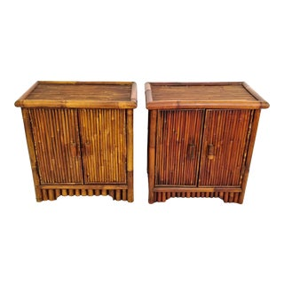 Small Bamboo Cabinets or Nightstands - a Pair - Mid Century Modern Palm Beach Boho Chic Pencil Reed Rattan Wicker Tropical Coastal For Sale