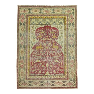 "Turkish Pictorial Animal Design Prayer Rug - 4'1"" x 5'6"" For Sale"