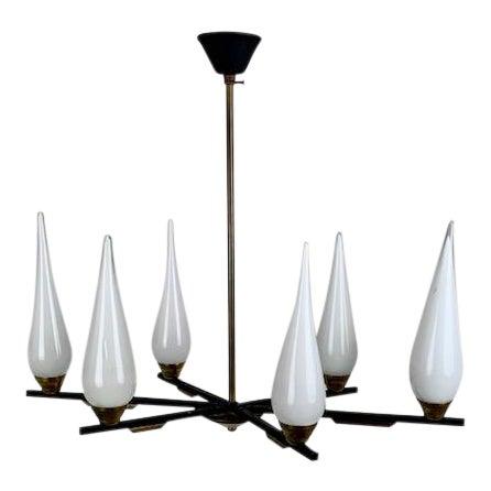 Italian Six Glass Light Chandelier For Sale