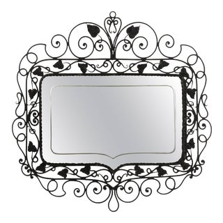 1940s Hand Wrought Etched Mirror For Sale