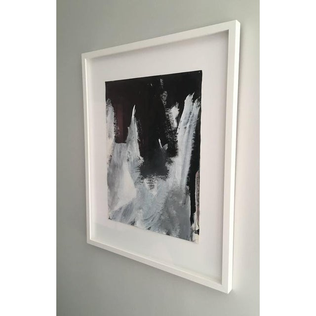 Abstract Stephanie Cate Abstract Europa 2 Study Black and White Painting on Paper, Framed For Sale - Image 3 of 6
