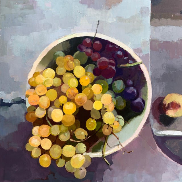 2010s Original Oil Painting - Rainbow Grapes For Sale - Image 5 of 5