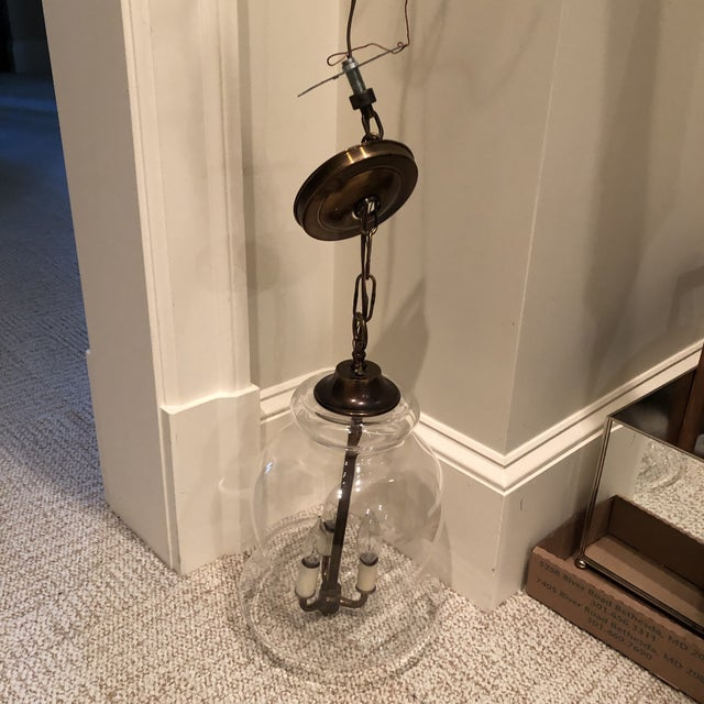 1960s Handblown Vintage Bell Jar Pendant Light For Sale - Image 5 of 12