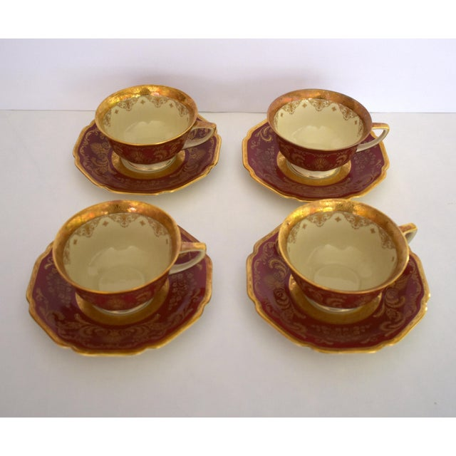 Heinrich and Co. Selb H & C Bavaria German Porcelain Red and Gold Encrusted Tea Cup and Saucer - Service for 4 For Sale - Image 12 of 12