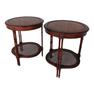 Vintage Regency Style Burl Walnut and Faux Bamboo Accent End Tables- a Pair For Sale