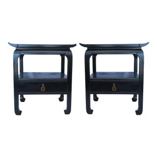 1960s Mid-Century Modern Kent Coffey Ebony Side Tables - a Pair For Sale