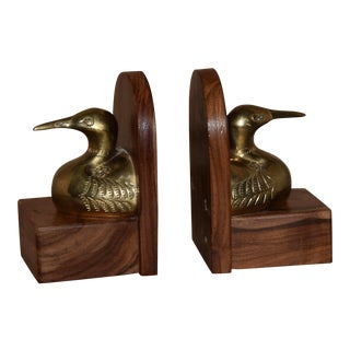 Mid-Century Mallard Duck Sculptural Brass & Wood Bookends - a Pair For Sale