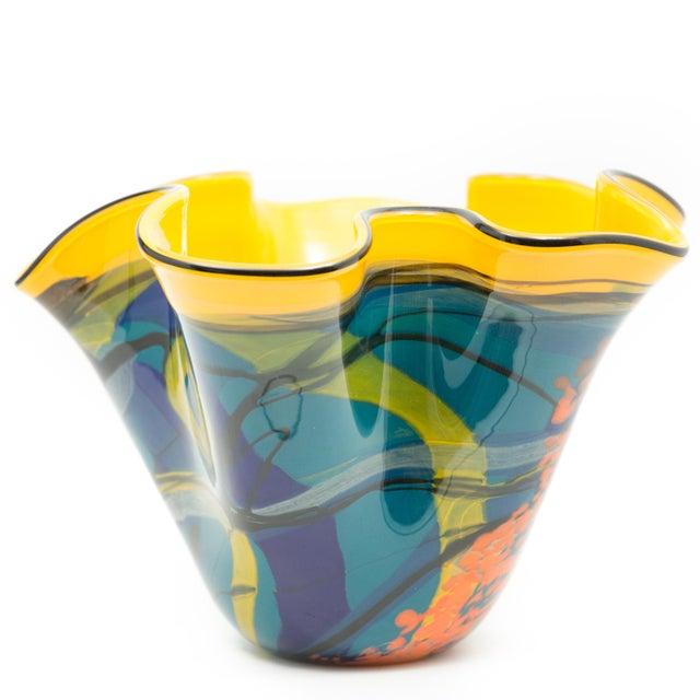 Ioan Nemtoi Very Large Floriform Napkin Contemporary Art Glass Signed Vase For Sale - Image 4 of 7