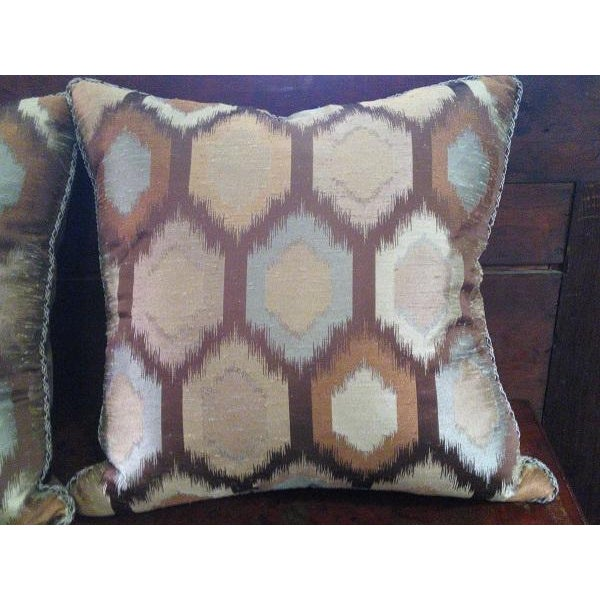 Brown Contemporary Feather Throw Pillows - A Pair - Image 4 of 4