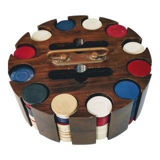 Vintage Poker Chip Caddy Carousel Holder Case For Sale