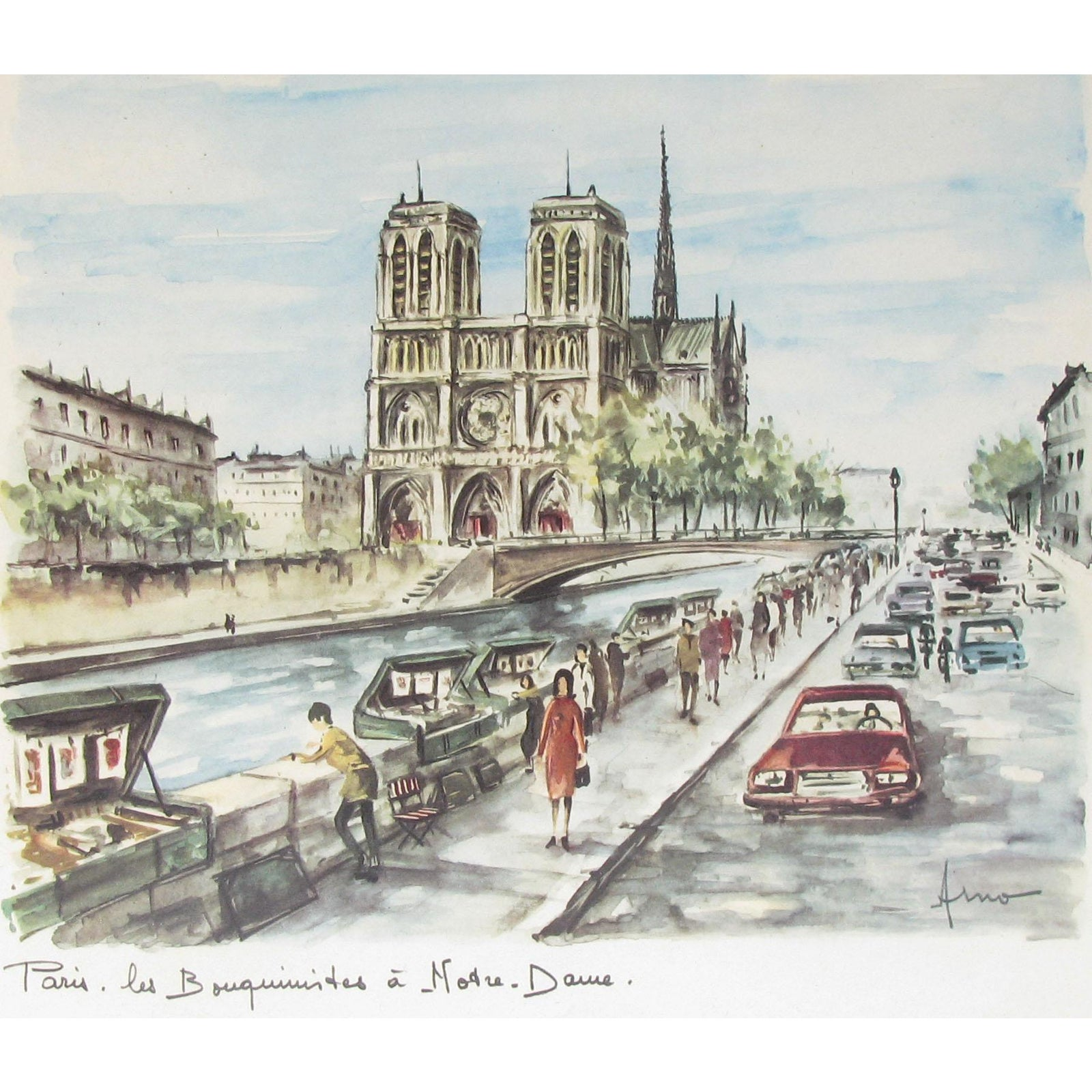 Mid Century Notre Dame De Paris By Arno Framed Chairish