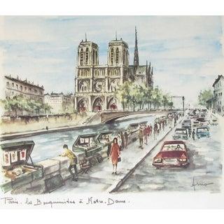 Mid-Century Notre Dame De Paris by Arno, Framed For Sale