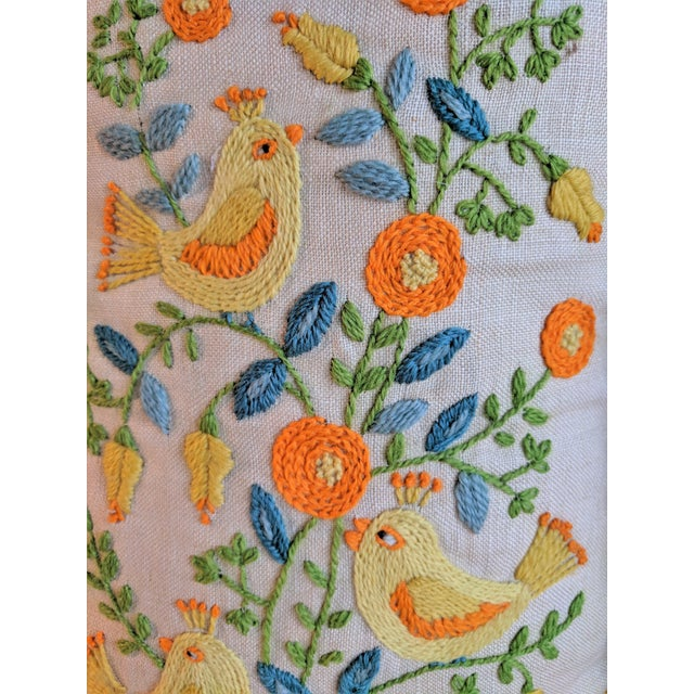 Vintage Embroidered Crewel Bird Throw Pillows - A Pair For Sale In Birmingham - Image 6 of 10