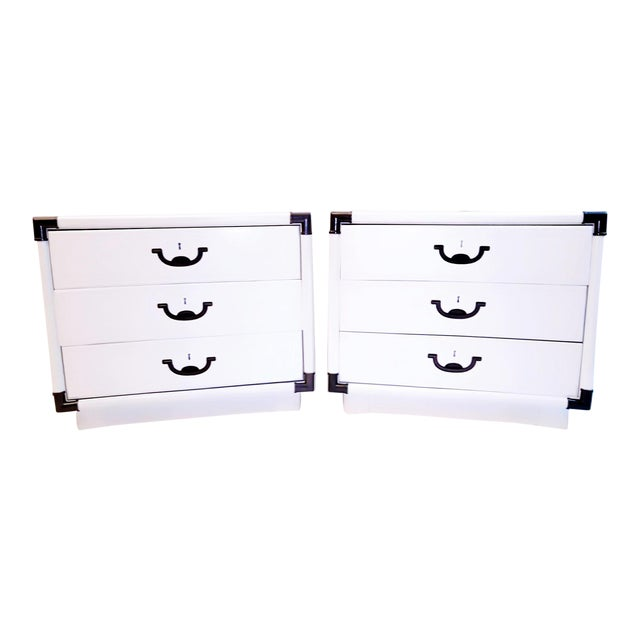 1960s Drexel Accolade White Lacquered Campaign Nightstands - a Pair For Sale