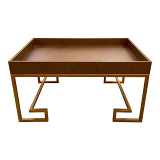 Brown Grasscloth Cocktail Table