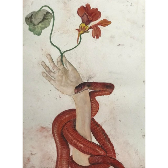 Contemporary Snake With Hand Holding a Nasturtium Drawing For Sale - Image 3 of 3