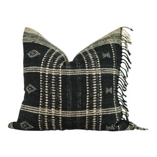 Indian Black Wool Blanket Pillow For Sale
