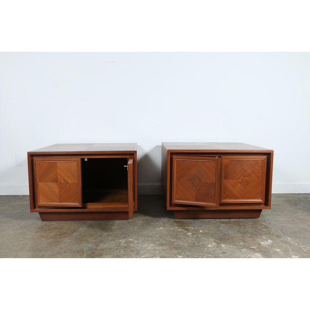 Pair of Vintage Milo Baughman Style walnut end table chests or nightstands. Just refinished. All doors open well. No...