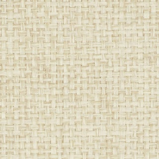 Sample - Schumacher Kiko Paperweave Wallpaper in Natural For Sale