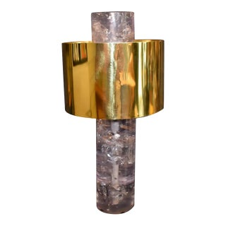 Ice Cracked Resin With Brass Shade Table Lamp For Sale