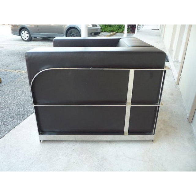 1990s Vintage Architectural Chrome & Leather Cube Chair For Sale In Miami - Image 6 of 9