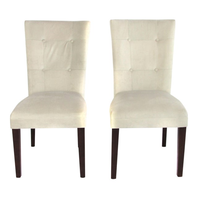 Ivory Microsuede Side Chairs - A Pair - Image 1 of 5