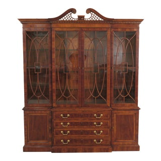 1990s Traditional Henredon Aston Court Collection Walnut Breakfront For Sale