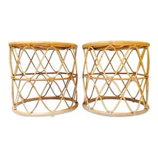 Rattan Drum Side Tables Franco Albini Style Sculpted Bent Bamboo Tables - a Pair