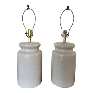 Mid-Century Modern Asian-Inspired Ceramic Table Lamps - a Pair For Sale