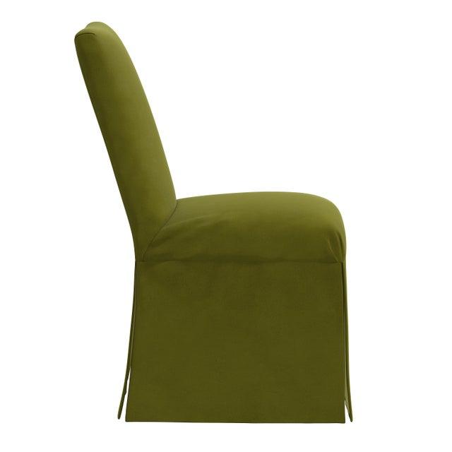 Traditional Slipcover Dining Chair in Velvet Applegreen For Sale - Image 3 of 8