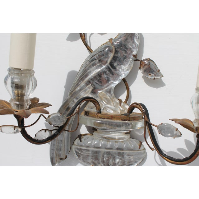 French Art Deco C1920s Authentic Maison Bagues Bronze Framed Crystal Parrot Sconces For Sale In Miami - Image 6 of 11