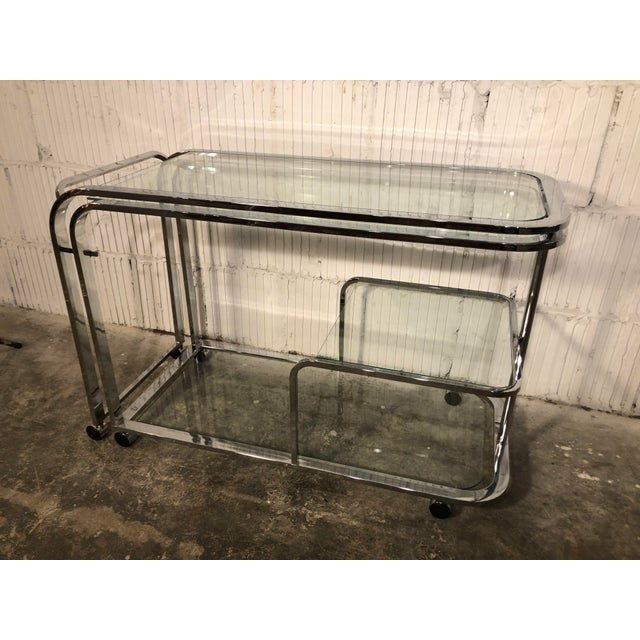 Chrome Design Institute of America Chrome Bar Cart For Sale - Image 7 of 8