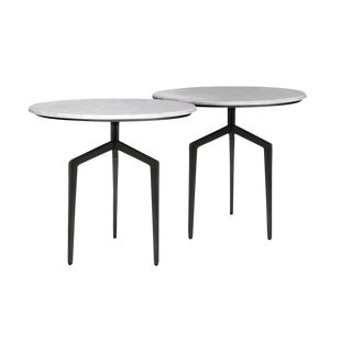Marble and Polished Black Steel Side Tables - a Pair
