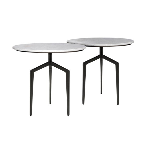Marble and Polished Black Steel Side Tables - a Pair For Sale
