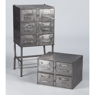1950s French Mid-Century Industrial Polished Steel File Cabinet Preview