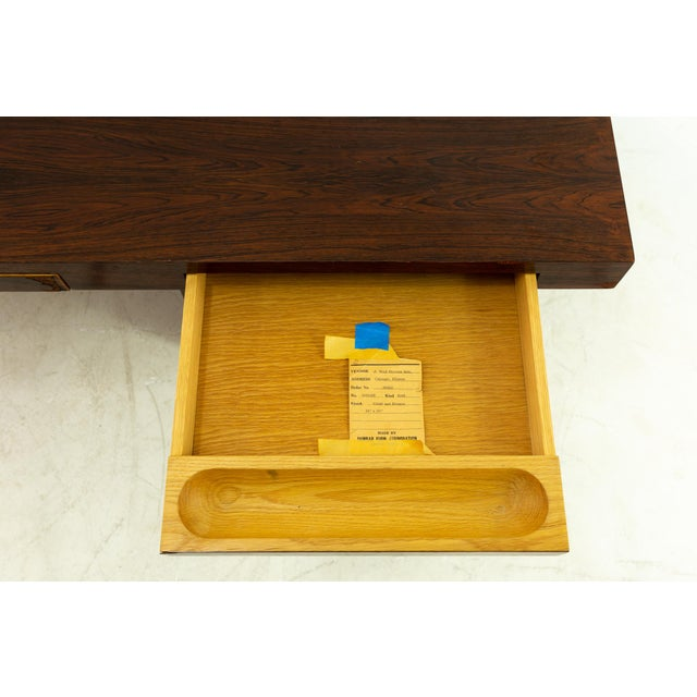 Edward Wormley for Dunbar Mid Century Rosewood and Bronze Executive Desk For Sale In Chicago - Image 6 of 10