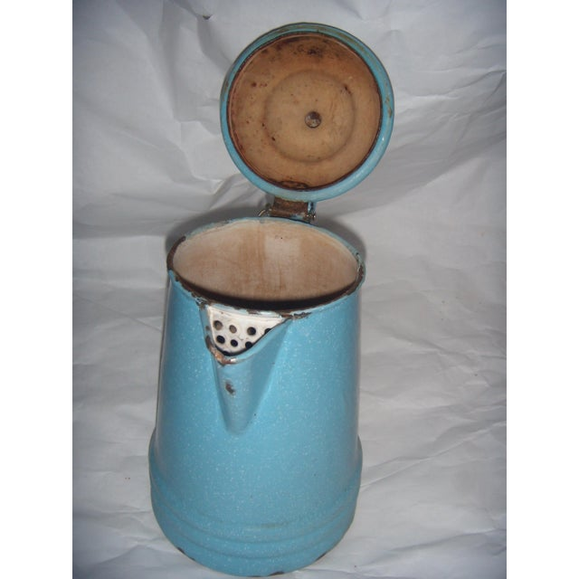 Rustic Country Blue Enamel Pitcher - Image 4 of 5