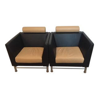 Pair of Ettore Sottsass for Knoll Eastside Lounge Chairs 1980's For Sale