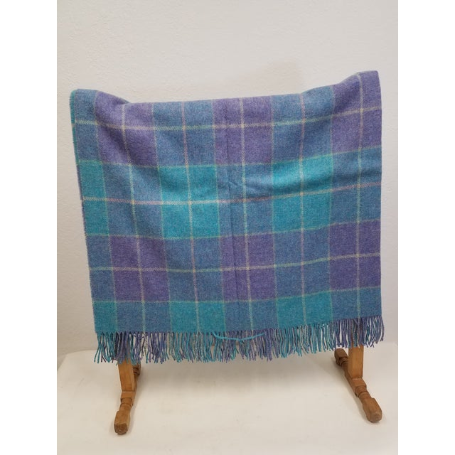 Wool Throw Aqua Blue, Yellow and Purple Stripes and Squares - Made in England A versatile throw in a check design. The...