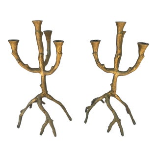 Cyan Design Organic Gold Iron Twig Candlesticks - A Pair For Sale