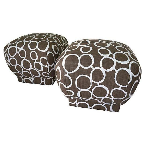 Vintage Brown & White Pouf Ottomans - A Pair - Image 1 of 4