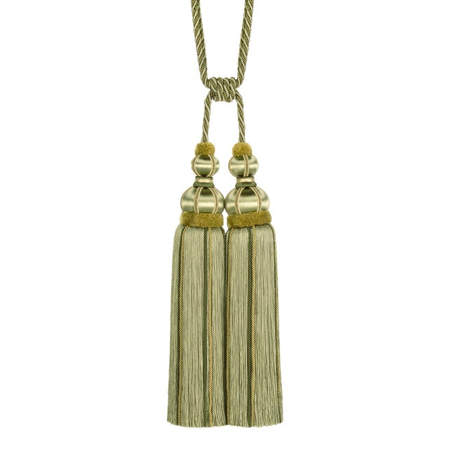 "Green Double Tassel Tieback With Cut Ruche- Tassel Height 17"" For Sale - Image 8 of 8"