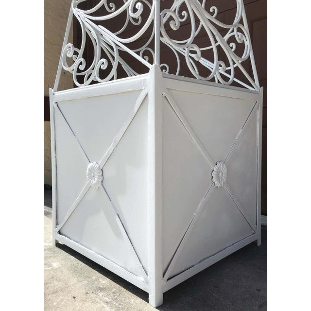 Pair of French Art Deco Neoclassical Wrought Iron Obelisk Planters For Sale In Atlanta - Image 6 of 12
