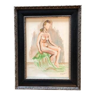 1940's Modernist Female Nude Original Watercolor For Sale