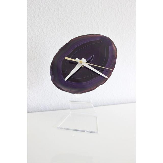Minimalist Purple SoLo Agate Clock on Lucite - Image 2 of 8